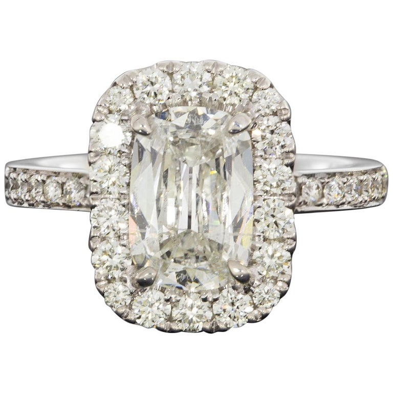 White Gold GIA Certified 2.59 Carat Cushion Diamond Halo Engagement Ring For Sale