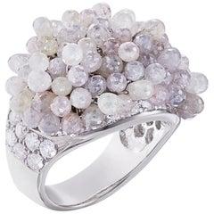 Nina Runsdorf White Gold 26.66 Carat Rough Diamond Fringe Ring