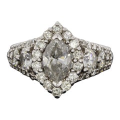 White Gold 2.88 Carat Marquise Diamond Halo Engagement Ring