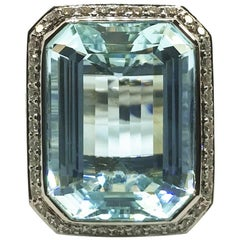 White Gold 30.14 Carat Aquamarine, Sapphire and Diamond Ring
