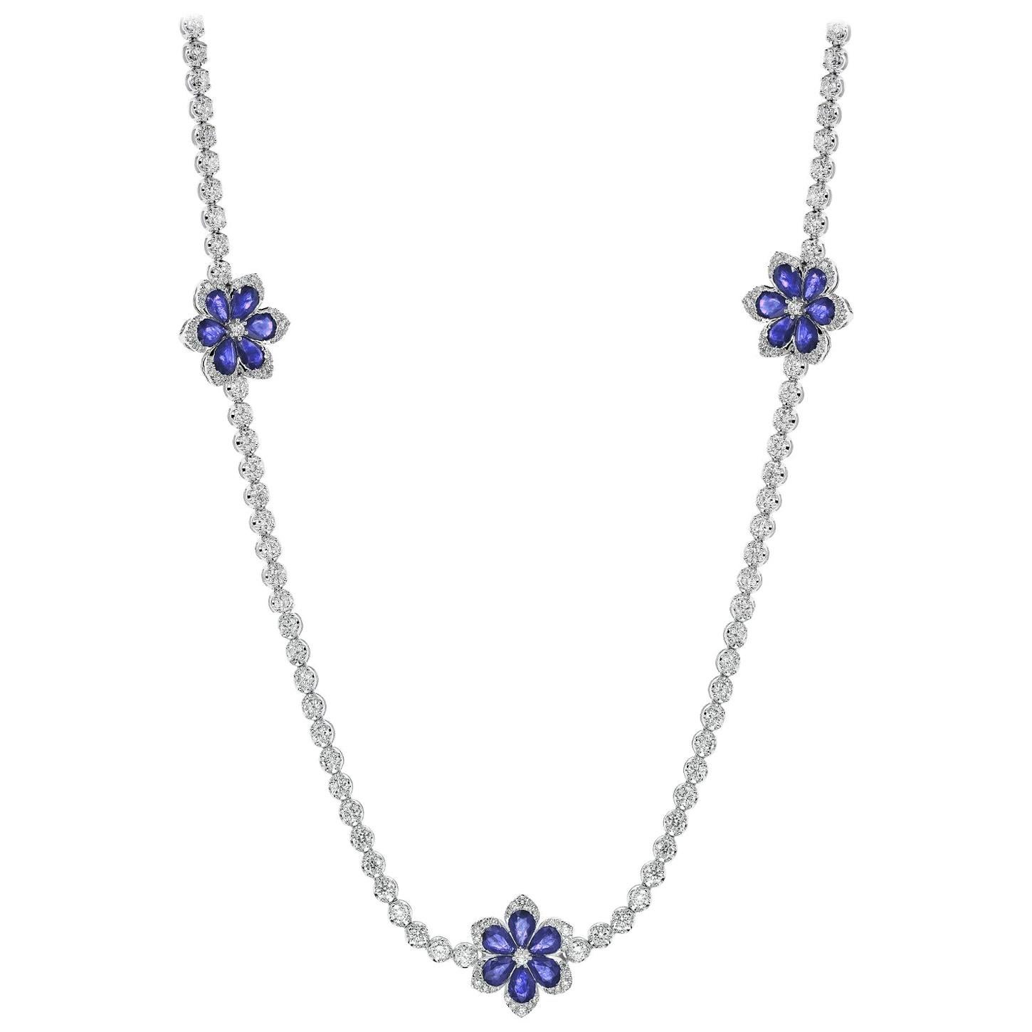 White Gold 30.50 Carat Long Sapphire Diamond Flower Necklace