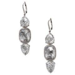 Nina Runsdorf White Gold 32.90 Carat Rough Diamond Earrings