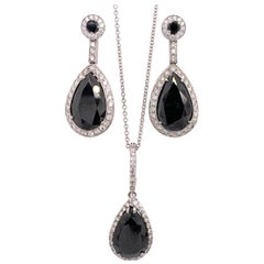 White Gold 33 Carat Black & White Natural Pear Diamond Earring & Pendant Gem Set