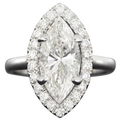 White Gold 3.39 Carat Marquise Diamond Halo Engagement Ring