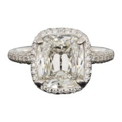 White Gold 3.70 carat Cushion Diamond Halo Engagement Ring
