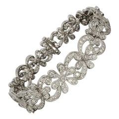 White Gold 3.71 Carat Round Diamond Chain Bracelets