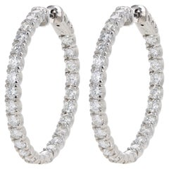White Gold 4.37 Carat Total Weight Diamond Inside-Out Hoop Earrings