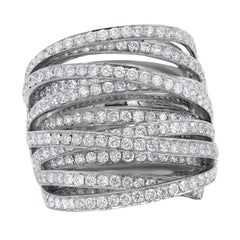 White Gold 4.50 Carat Diamond Multi-Row Ring