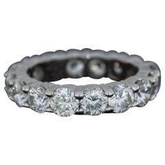 White Gold 4.80 Carat Round Diamond Eternity Wedding Band Ring
