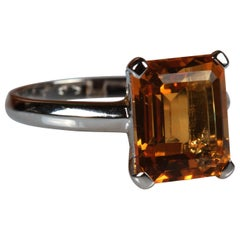 White Gold 4.98 Carat Emerald Cut Citrine Quartz Ring