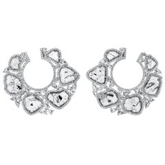 Nina Runsdorf White Gold 5.39 Carat Slice Diamond Frontal Hoop Earrings