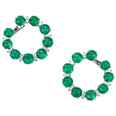 Nina Runsdorf White Gold Emerald Cabochon and Marquise Diamond Hoop Earrings
