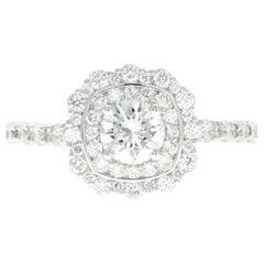 White Gold .59 Carat Round Brilliant Cut Diamond Engagement Ring