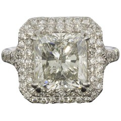 White Gold 6.50 Carat Certified Radiant Diamond Double Halo Engagement Ring