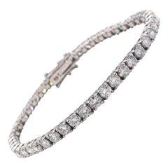 White Gold 6.86 Carat Round Diamond Tennis Line Bracelet