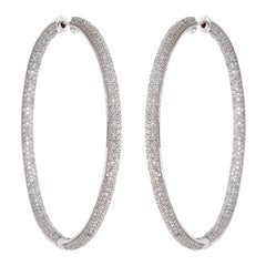 White Gold 7 Carat Diamond Pave Earrings