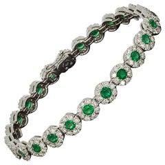 White Gold 7.13 Carat Round Cut Emerald and Diamond Tennis Bracelets