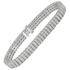White Gold 7.50 Carat Diamond Three-Row Tennis Bracelet