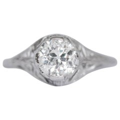 White Gold .80 Carat Solitaire Diamond Art Deco Filigree Engagement Ring