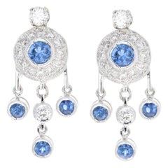 White Gold .85 Carat Sapphire and Diamond Dangle Earrings