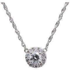 White Gold .86 Carat Diamond Halo Pendant Necklace