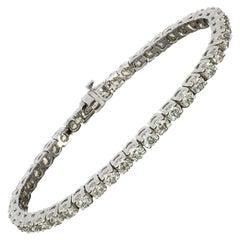 White Gold 8.93 Carat Round Diamond Tennis Line Bracelet