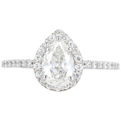 White Gold .93 Carat Pear Shape Diamond Halo Engagement Ring
