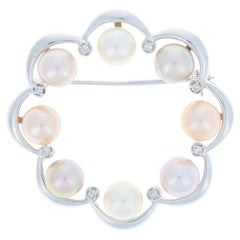 White Gold Akoya Pearl and Diamond Floral Wreath Brooch, 14k Round Brilliant Pin