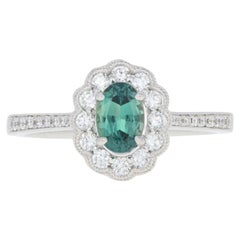 White Gold Alexandrite and Diamond Ring, 14k Oval Cut .96ct Floral Milgrain Halo