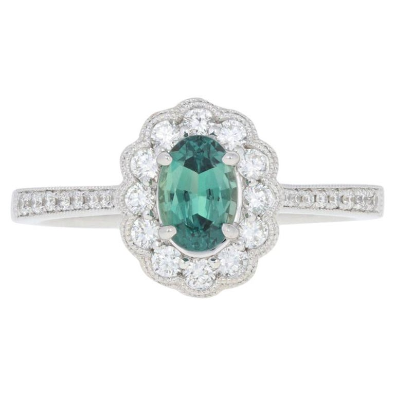 White Gold Alexandrite and Diamond Ring, 14k Oval Cut .96ct Floral Milgrain Halo For Sale