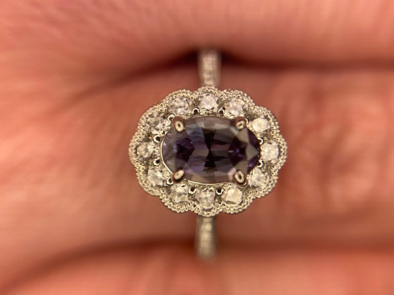 White Gold Alexandrite and Diamond Ring, 14k Oval Cut .96ct Floral Milgrain Halo For Sale 2