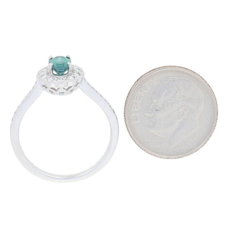 White Gold Alexandrite and Diamond Ring, 14k Oval Cut .96ct Floral Milgrain Halo For Sale 3