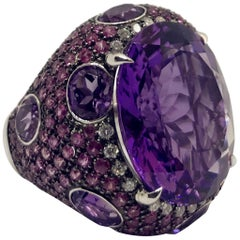 White Gold Amethyst, Pink Sapphire, Diamond Domed Ring