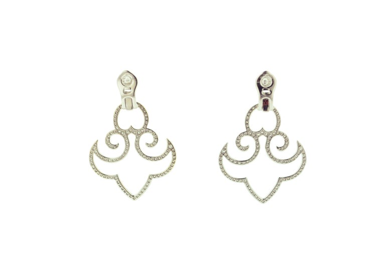 Contemporary Diamond White Gold Clip-On Earrings For Sale