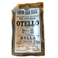 """White, Gold and Black Porcelain Metropolitan Opera """"Otello"""" Play Bill Theme Tray"""