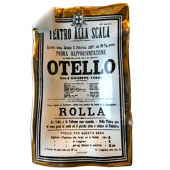 "White, Gold and Black Porcelain Metropolitan Opera ""Otello"" Play Bill Theme Tray"