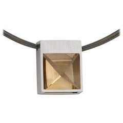 White Gold and Context Cut Citrine Square Pendant
