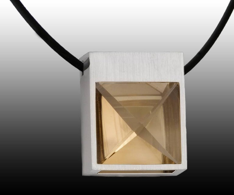 Contemporary White Gold and Context Cut Citrine Square Pendant For Sale