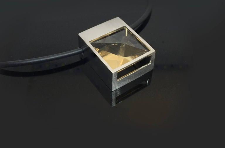 Square Cut White Gold and Context Cut Citrine Square Pendant For Sale