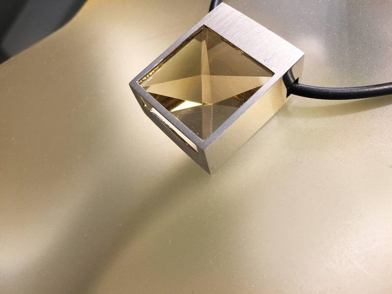 White Gold and Context Cut Citrine Square Pendant In New Condition For Sale In los angeles, CA