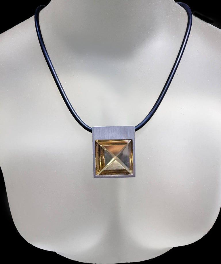 Women's White Gold and Context Cut Citrine Square Pendant For Sale