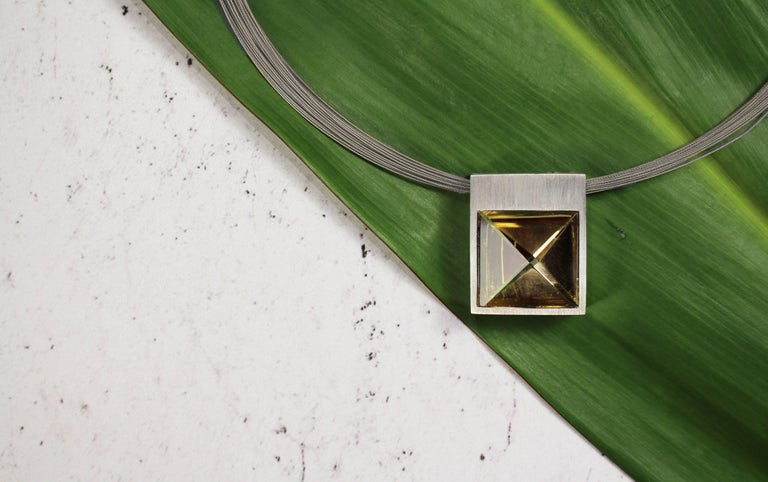 White Gold and Context Cut Citrine Square Pendant For Sale 1