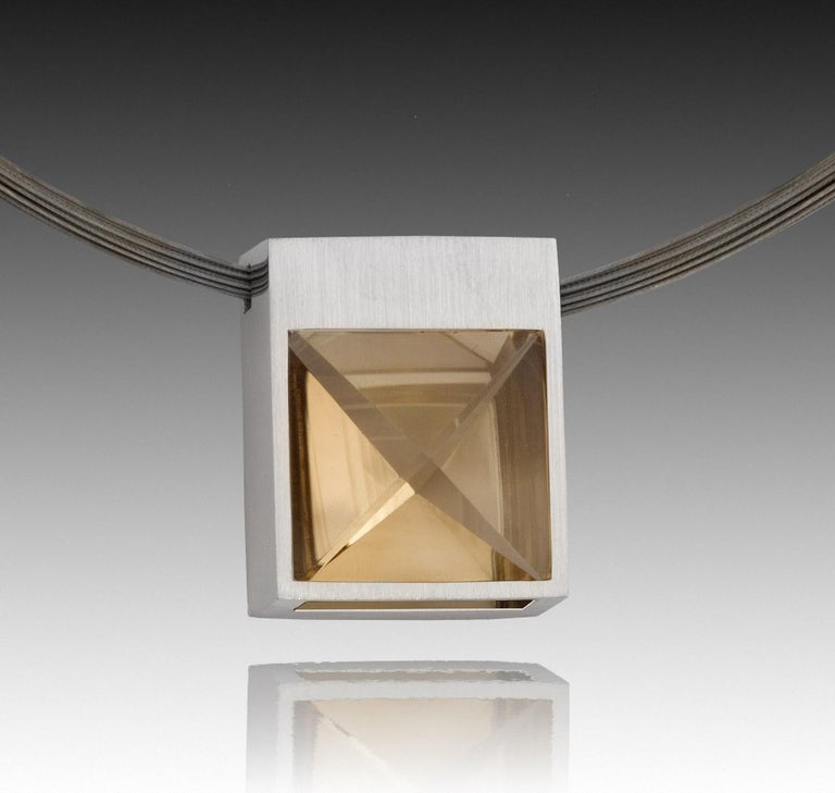 White Gold and Context Cut Citrine Square Pendant For Sale 2