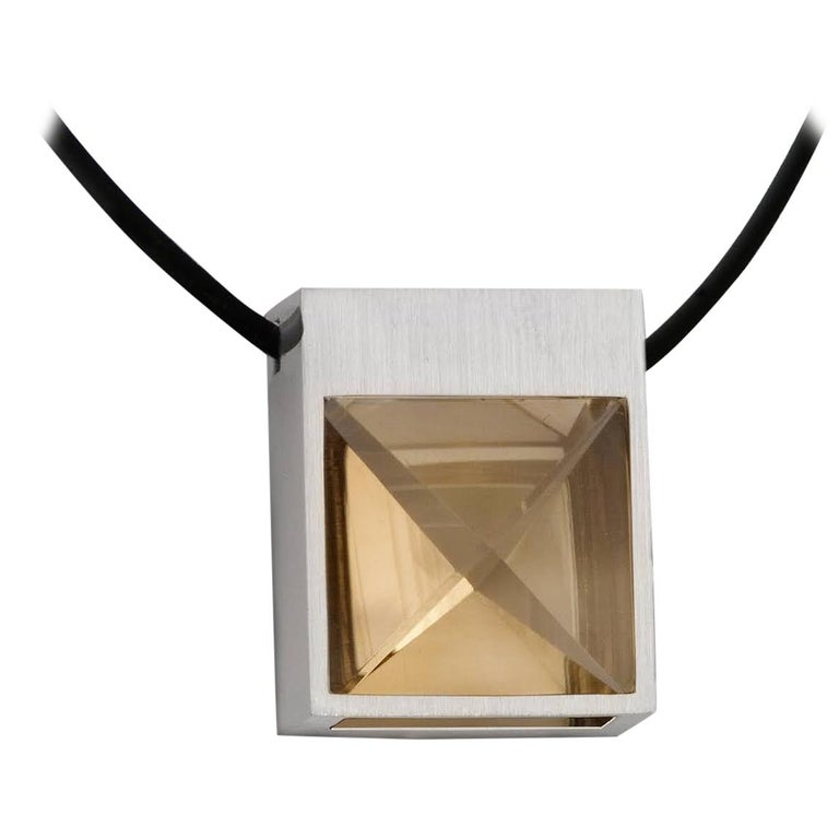 White Gold and Context Cut Citrine Square Pendant For Sale