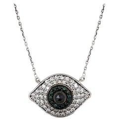 White Gold and Diamond, Blue Diamonds, Black Diamond Evil Eye Pendant Necklace