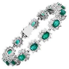 White Gold and Diamond Bracelet with Oval Cut Zambian Emeralds