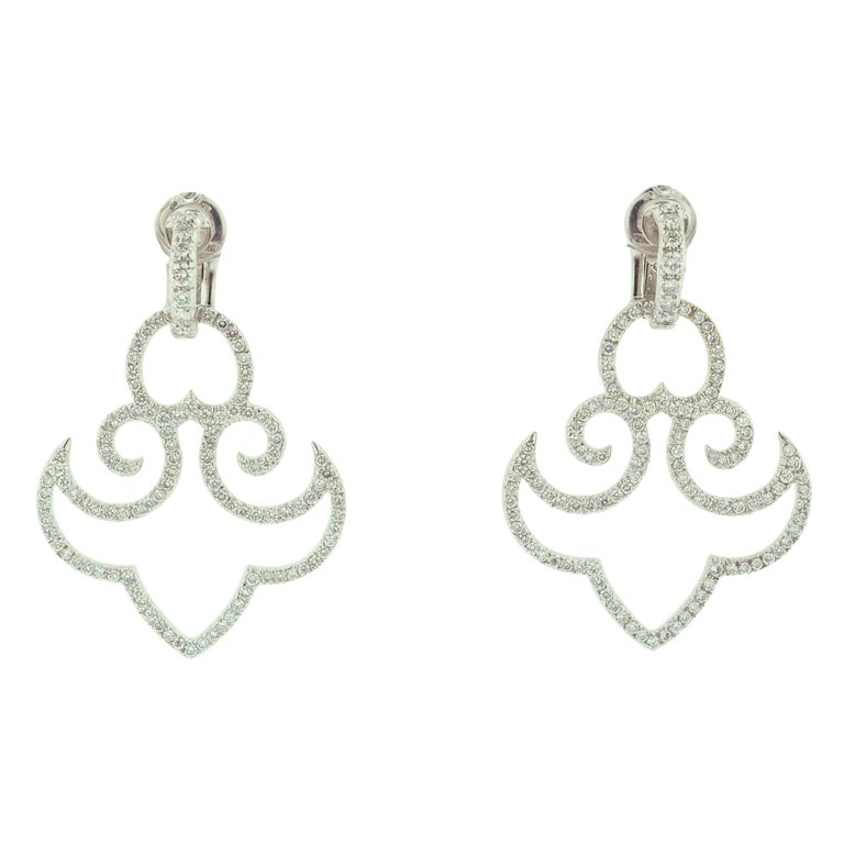 Diamond White Gold Clip-On Earrings For Sale