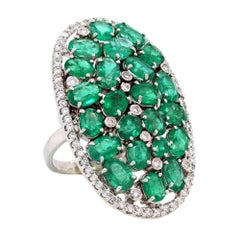 White Gold and Diamond Cluster Ring with Emeralds