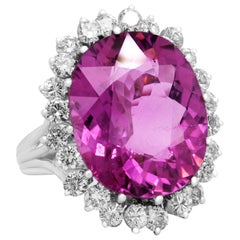 GIA Certified Bubble Gum Pink Tourmaline and Diamond White Gold Ring
