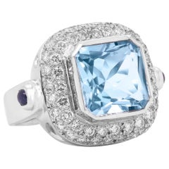 White Gold and Diamond Cocktail Ring with Cushion Cut Aquamarine Center